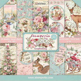 """Stamperia-Paper Pad Pink Christmas 12x12"""""""