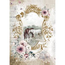 Stamperia Reispapier A4-Romantic Horses DFSA4582