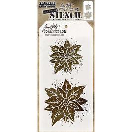 Tim Holtz Stencil-Poinsettia Due THS153