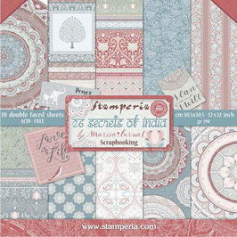 Stamperia-Paper Pad 26 Secrets of India 12x12""