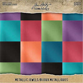 Tim Holtz-Kraft Stock/Metallic Jewels 8x8""