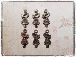 Metall Charms-Mädchen mit Regenmantel Silber-240