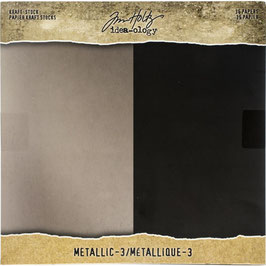Tim Holtz-Kraft Stock/Metallic (3) 8x8""