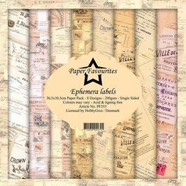 "Paper Favourites-Ephemera Labels 12x12"""