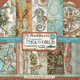 "Stamperia-Scrapbooking Papier/Mechanical Sea World 12x12"""