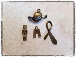 Vintage Metall Charms-bronce/Cowboy