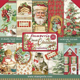 Stamperia-Paper Pad Classic Christmas 2020 8x8""