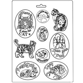 Stamperia-Soft Mould A4-Orchids & Cats K3PTA483
