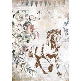 Stamperia Reispapier A4-Romantic Horses DFSA4579
