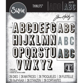 Sizzix by Tim Holtz Thinlits-Stanzform/Alphanumeric Shadow Upper