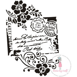 Dress my Craft-Stencil/Carte Postal