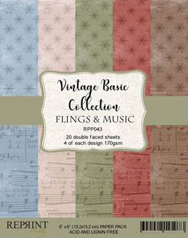 """Reprint-Vintage Basic Collection/Flings & Music 6x6"""""""