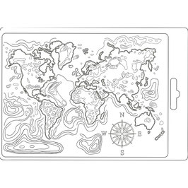 Stamperia-Soft Mould A5-Map of the World K3PTA544