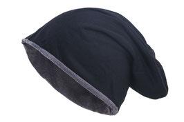 Wendemütze schwarz-grau reversible Beanie Mütze