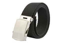 Stoffgürtel Männer mit Metall Schnalle Canvas Belt 3,8cm Breite und viele Längen schwarz