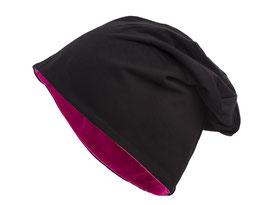 Jersey Beanie Schwarz-Pink Wendemütze Reversible Mütze Übergangsmütze Wintermütze