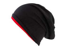 Jersey Beanie Schwarz-Rot Wendemütze Reversible Mütze Übergangsmütze Wintermütze
