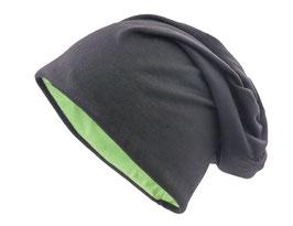Wendemütze Schwarz-Grün  reversible Beanie Mütze