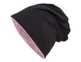 Wendemütze Schwarz-Rosa reversible Beanie Mütze