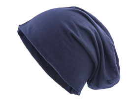 JERSEY BEANIES 2-LAGIG BEANIE LONG LANG TOLLE QUALITÄT NAVY WINTERMÜTZE SLOUCHES