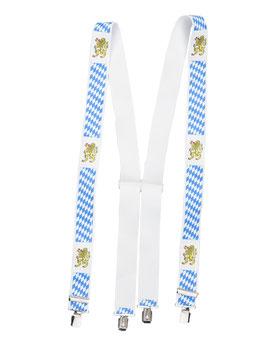 Hosenträger 4 Klips X-Form weiß blau bayern
