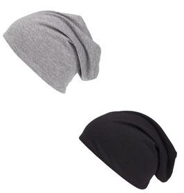 Doppelpack Jersey Beanie Mütze in schwarz und grau