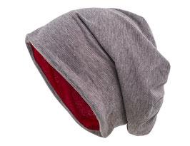 Wendemütze Grau-Rot reversible Beanie Mütze