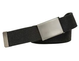 Shenky Stoffgürtel 160cm lang und 4cm breit schwarz mit matter Schnalle