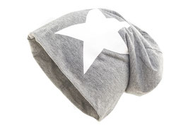 Jersey Beanie Grau mit Weißem Stern mit Motiven Übergangsmütze Herbst Wintermütze