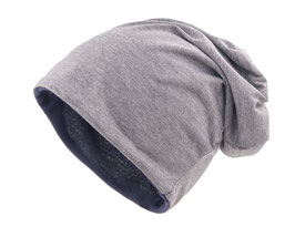 Wendemütze Grau-Navy  reversible Beanie Mütze