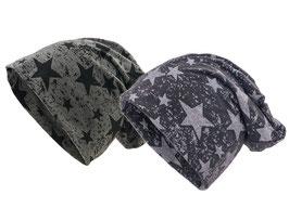2er Set Jersey Mütze mit Sternen