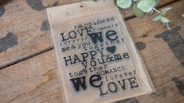 """happiness LOVE romance"" Silikonstempel"