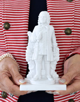 Johann Sebastian Bach-Statue (Höhe: 17 cm) aus Alabaster-Modellgips + 2 kostenlose Bach-Zugaben**