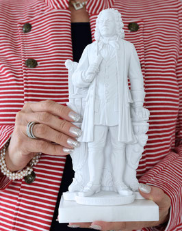 Johann Sebastian Bach-Statue (Höhe: 27 cm) aus Alabaster-Modellgips + 2 kostenlose Bach-Zugaben**