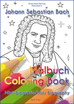 Johann Sebastian Bach Malbuch mit Mini-Kurzbiografie in Deutsch und Englisch