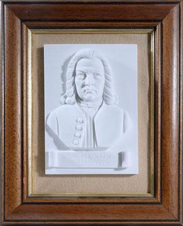 Johann Sebastian Bach Büste als Wanddekoration, plastisch, im Holzrahmen, aus Alabaster-Modellgips + 2 kostenlose Bach-Zugaben**