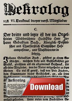 Der Nekrolog von 1750 mit Musik von Bach als Hörbuch zum Downloaden