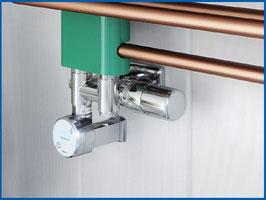 JUMBO Multiblock Set Thermostat Ventil mit Anschlussmöglichkeit für eine Heizpatrone