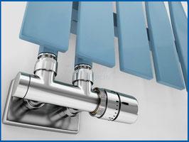 EXCELLENCE Set Thermostat Verbundventil Chrom mit Rohrabdeckung und Thermostatkopf