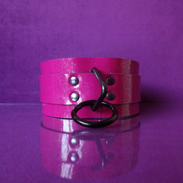 Candy Collar - Pink Glitter Leather Collar