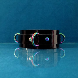Rainbow Ray - Black Leather D-Ring Collar