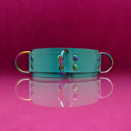 Rainbow Ray - Light Blue D-Ring Collar