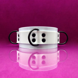 PVC D-Ring Collar - White