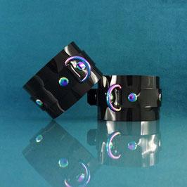 Rainbow Ray - Black PVC Cuffs