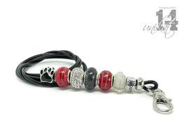 Exclusives Pfeifenband aus Echtleder 126 - schwarz/rot