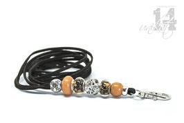Exclusives Pfeifenband aus Echtleder 61 - dunkebraun/goldorange