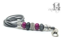 Exclusives Pfeifenband aus Echtleder 140 - hellgrau/pink zebra