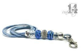 Exclusives Pfeifenband aus Echtleder 151 - hellblau/blau