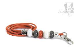 Exclusives Pfeifenband aus Echtleder 81 -orange/grau