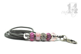 Exclusives Pfeifenband aus Echtleder 87 - steingrau/rosa